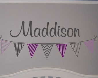 Girls Custom Banner Name Decal  - Personalized Name with Banner Wall Decal - Vinyl Wall Decal