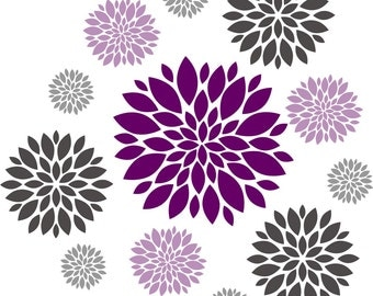 Flower wall decal - Set of 12 Flower Wall Decals - Vinyl Wall Decal - Nursery Wall Decal - Girls Wall Decal - Teen Decal
