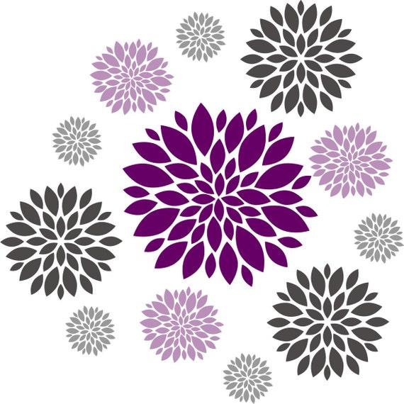 Purple Tulip Flowers Kitchen Vinyl Wall Stickers Home: Flower Wall Decal Set Of 12 Flower Wall Decals Dahlia