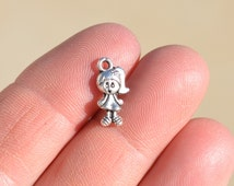 10 Silver Little Girl Charms SC1563