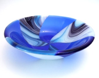 Shades of Blue and Purple Fused Glass Bowl