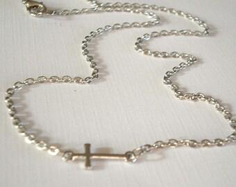 Small Cross Necklace Silver Sideways Cross Necklace Silver Cross Necklace Tiny Cross Necklace Jewelry