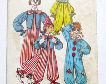 Vintage Clown Costume Pattern: Childrens Clown Costumes, 70s Simplicity 7162