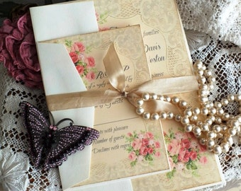 Vintage Romantic Roses and Lace Wedding Invitation Handmade SAMPLE by avintageobsession on etsy