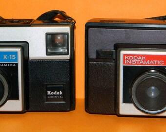 2 Cameras KODAK INSTAMATICS x-15 x-15f Vintage Photography Decor CrabbyCats, Crabby Cats