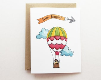 Scallop Hot Air Balloon Thank You Card