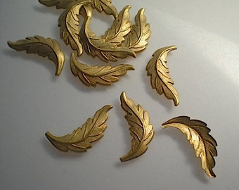 12 small brass leaf charms, No. 2