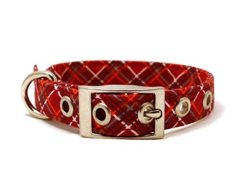 Scarlet red diagonal checkered adjustable XS / S / puppy dog collar with metal buckle