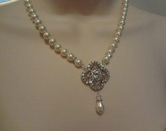 Bridal Necklace, Pearl Bridal Necklace, Swarovski Bridal Jewelry, Pearl Wedding Necklace, Bridal Y Necklace, Vintage Style PN067