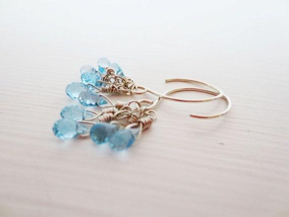 Blue topaz earrings.  Swiss blue topaz.  Sterling silver dangle earrings.