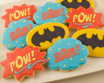 Super Hero Cookies, Pow, Bam, Batman  -  24 Decorated Sugar Cookies
