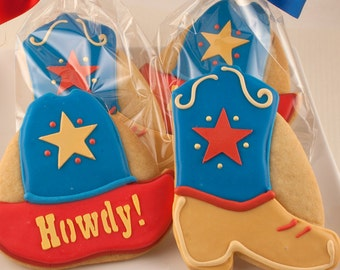 Cowboy Hat or Cowboy Boot Cookie Favors - 12 Decorated Cookies
