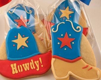 Cowboy Hat and/or Cowboy Boot Cookie Favors - 24 Decorated Cookies