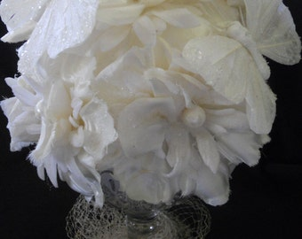 white flowers and pearls cake topper, Butterflys and flowers cake topper, Vintage millinery cake topper