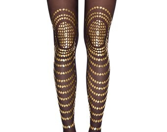 Goldfish, gold printed sheer black tights, available in S-M, L-XL, Flash Back collection