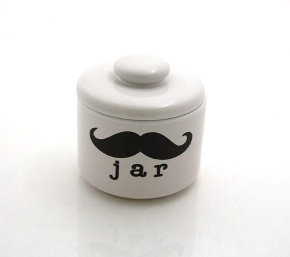 Stash jar Moustache Mustache Funny Gift Porcelain