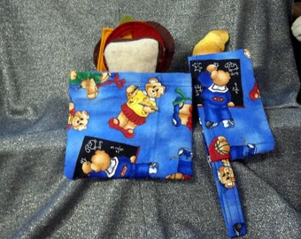 Reusable Sandwich N Snack Bag Set,  School Bears Print