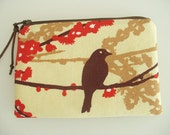 Padded Jewelry Zipper Cosmetic Pouch with Anti Tarnish Lining in Deep Brown and Persimmon Aviary Print