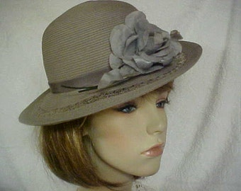 Grey fedora ladies hat with front flower and lace insert in brim- fits 21-21 1/2 inches