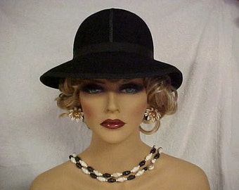 """Black wool """"Betmar"""" cloche hat- white stitching on crown- fits 22 inches"""