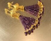 The Esperanza Purple Amethyst and Bali Vermeil Beaded Grand Tassel earrings