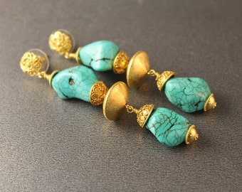 The Antonia Turquoise and Bali Vermeil Earrings - Handmade Dyed Howlite Nugget and 24k Gold Vermeil Earrings