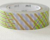 mt Washi Masking Tape - Green Stripe Checks