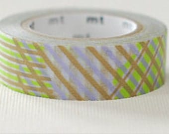 mt Washi Masking Tape - Green Stripe Checks
