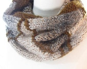 Hand Knit Cowl Scarf with Chevron Zig Zag in Chocolate Brown, Winter White, Grey and Bronze