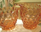 COTTAGE CHARM - Vintage Pink Depression Pressed Glass Sugar and Creamer - (Credit Cards Accepted)