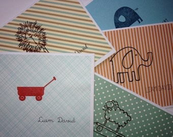 Personalized baby cards on paper
