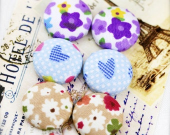 """Love flowers - fabric covered button ear studs, set of 3 -  3/4"""", 19mm (BS)"""