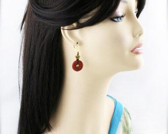 Oriental endless knot earrings - goldstone
