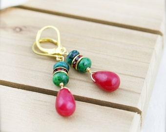 Oriental bliss earrings - chrysocolla, jade and rhinestone