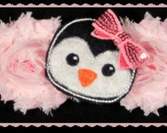 Pretty in Pink Penguin ,baby headband,Christmas Headband, infant headband, photo prop,Holiday headband