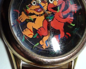 Sesame Street  Watch Good Working Condition Genuine Leather Band 1990s  On SaLe Now