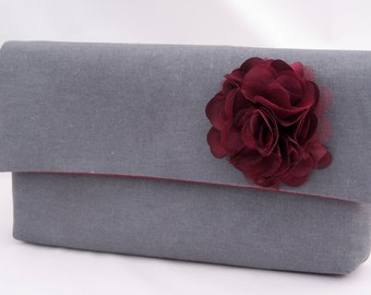 Charcoal Gray Bridesmaids Gift Linen Clutch Handbag with rosette Wedding Party Gift for Bridesmaids Design your own