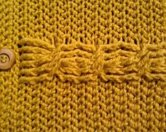 Crochet Tablet Sleeve, Yellow Cable, iPad Sleeve, Cozy