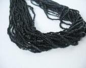 Torsade Multi Strand Glass Beaded Necklace 70's Black