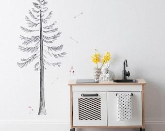 Fabric Wall Decal - Build a Pine Tree (reusable) NO PVC