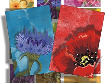 Romantic flowers images for cards, ACEO, ATC, scrapbook and more Digital Collage Sheet 3 X 2 inch No.1300