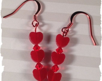 Red, Red and More Red ColorSparx Earrings--Red Jade Hearts, Red Swarovski Crystals on Shiny Red Metal Findings