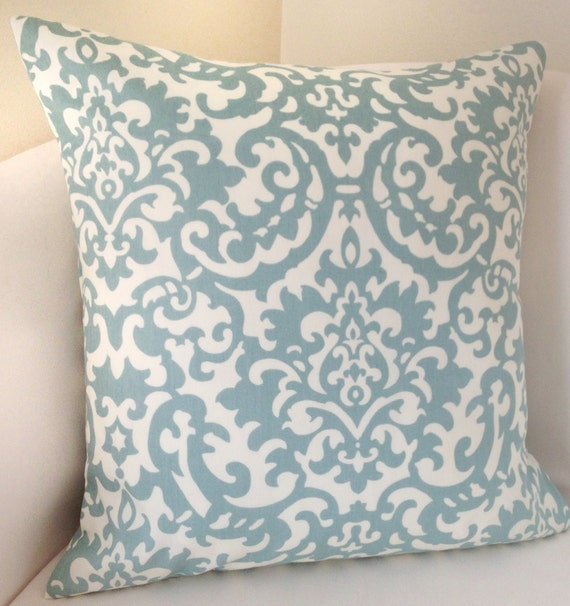 Spa Blue Throw Pillows : Damask Pillow Cover Decorative Throw Pillow Spa Blue Pillow
