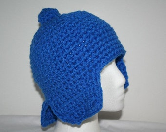 pocoyo inspired hat  with neck warmer and small ear flaps for child 20.5in - cute and unique photo prop or movie costume