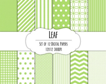 Leaf Green Digital Scrapbook Paper 12x12 Pack - Set of 12 - Polka Dots, Chevron, Gingham - Instant Download - Item# 8048