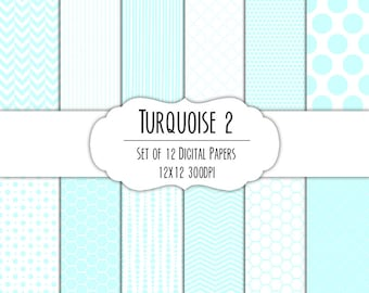 Turquoise Blue 2 Digital Scrapbook Paper 12x12 Pack - Set of 12 - Polka Dots, Chevron, Hexagon - Instant Download - Item# 8178