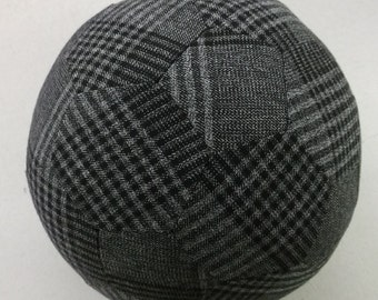 Fabric Soccer Ball- Grey & Black Plaid Wool