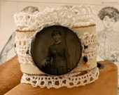 Leather and Lace Cuff with Young Girl Tintype in Bezel