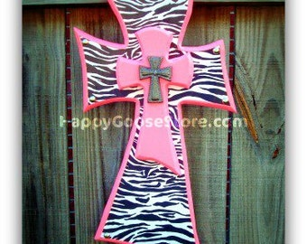 Small Wall CROSS - Pink and Zebra (or other color of your choice)