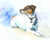 JACK RUSSELL TERRIER Original Watercolor on ink print 11x14 Matted Ready to Frame